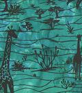 Ethnic Cotton Fabric-Scenic Teal Giraffe