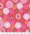 Quilter\u0027s Showcase Cotton Fabric -Pink & Kiwi Floral Medallion