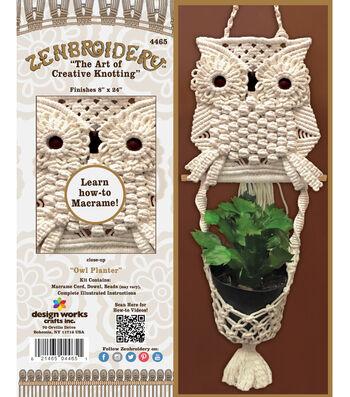 "Design Works Zenbroidery Macrame Wall Hanging Kit 8""X24""-Owl Planter"