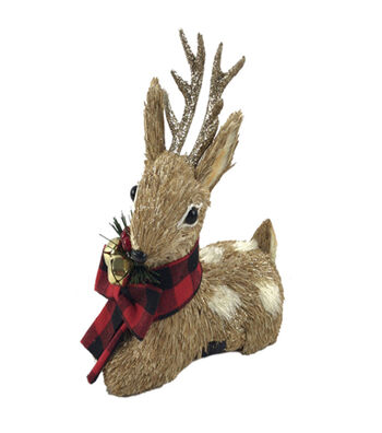Blooming Holiday 7'' Sitting Deer with Red Buffalo Checks Scarf