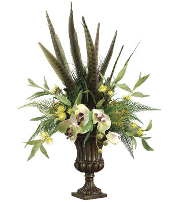 Bloom Room Luxe 24'' Phalaenopsis Orchid, Feather & Protea In Urn-Green