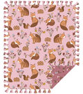 No Sew Fleece Throw-Foxes On Pink