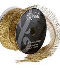 Cascade Holiday Metallic Tinsel Ribbon 2.5\u0022x20 yds-Gold