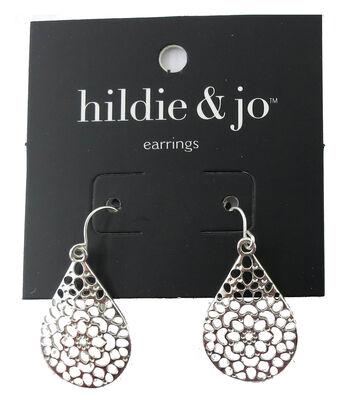 hildie & jo 1.13''x0.75'' Teardrop Cut Out Silver Earrings