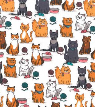 Snuggle Flannel Fabric -Kitty, Mice & Yarn