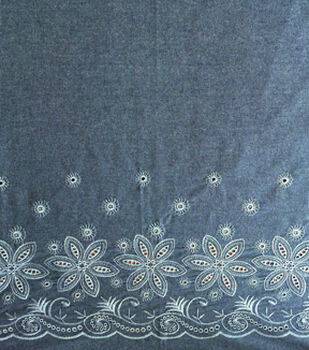 Cotton Chambray Fabric 56''-Blue & White Border Embroidered