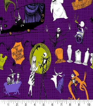 Nightmare Before Christmas Halloween Cotton Fabric-Scenes