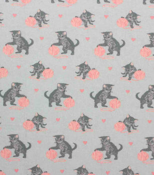 Super Snuggle Flannel Fabric-Kitty with Yarn