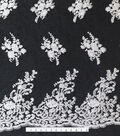 Quinceanera Embellished Lace Fabric -White & Black