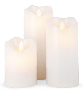 Hudson 43 3pc Set Motion Flame Candle-White