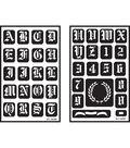 Over \u0027n\u0027 Over Reusable Glass Etching Stencils 5\u0022X8\u0022 2/Pkg-Old English Alphabet