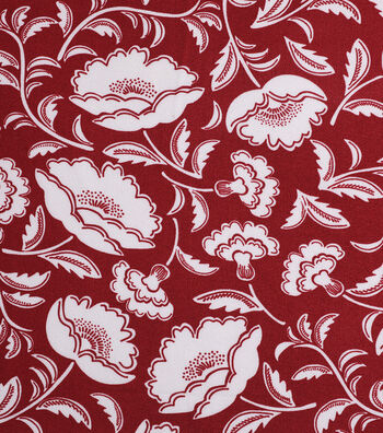 """Silky Crepe Fabric 53""""-Rust Ivory Folk Floral"""