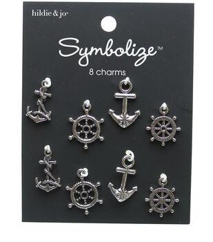 hildie & jo 8 pk Nautical Charms-Silver