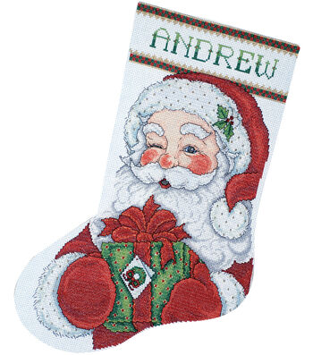 Winking Santa Stocking Counted Cross Stitch Kit Long 14 Count