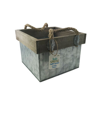 Hello Spring Small Metal Crate