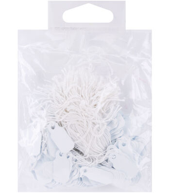 """Darice Small Jewelry Hang Tags 0.25""""x0.75"""" White"""