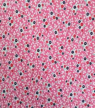 Doodles Juvenile Apparel Fabric 57''-Ditsy Floral Interlock on Pink