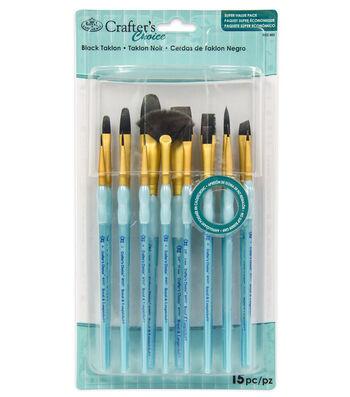 Royal & Langnickel Variety Brush Set 15pk-Black Taklon