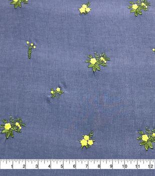 Denim Embroidered Cotton Fabric-Blue Floral