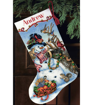 Dimensions Gold Counted Cross Stitch Snowman Gathering Stocking