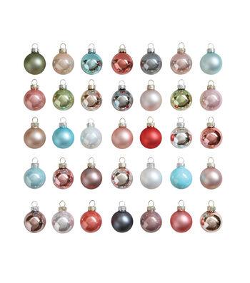 3R Studios Christmas 35 pk Round Boxed Glass Ornament-Pastel Multi-Color