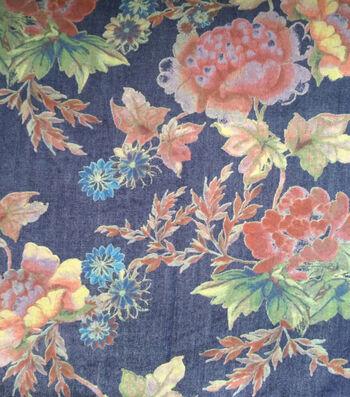 Denim Printed Fabric 57''-Floral