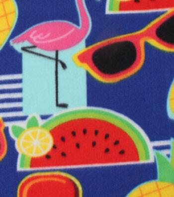 """Blizzard Fleece Fabric 59""""-Summer Fun Icons"""