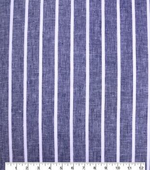 100% Linen Fabric-Navy White YD Wide Stripe