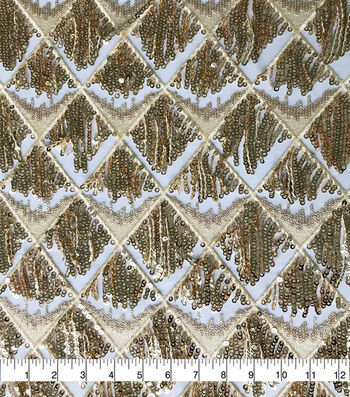 Quinceanera Diamond Sequin Dangles Fabric-Gold