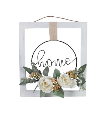 Simply Spring 3.5'' Home with Floral Wall Decor-White