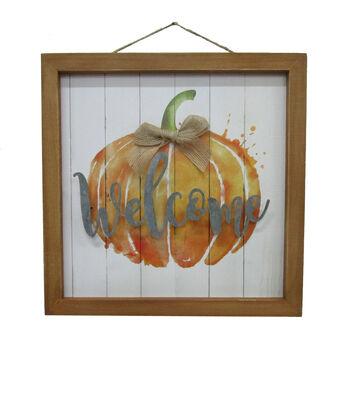 Simply Autumn Wall Decor-Watercolor Pumpkin & Welcome