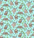 Novelty Cotton Fabric Happy Sloths on Aqua