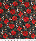 Holiday Cotton Fabric -Poinsettias and Pine