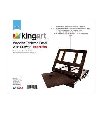 KINGART Wooden Tabletop Easel W/Drawer-Espresso