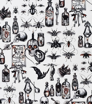 Halloween Cotton Fabric-Dark Magic On Cream
