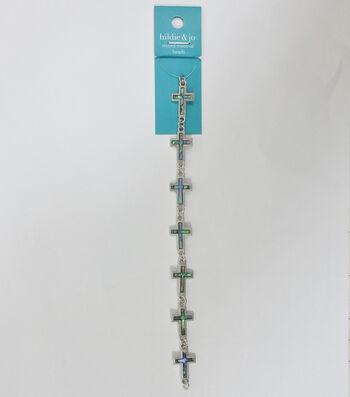 hildie & jo 7'' Cross Shell & Metal Strung Beads
