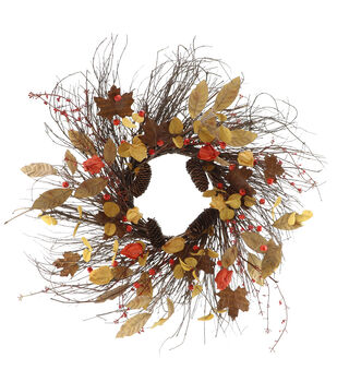 Blooming Autumn Pinecone, Dried Leaf & Lantern Wreath