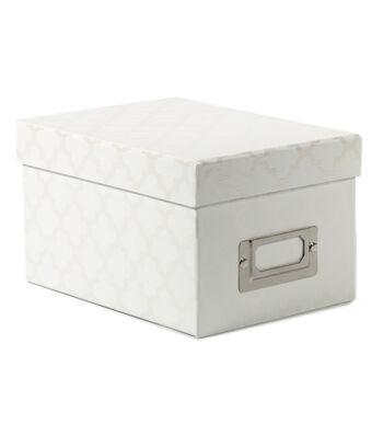 Mini Photo Storage Box-White Quatrefoil
