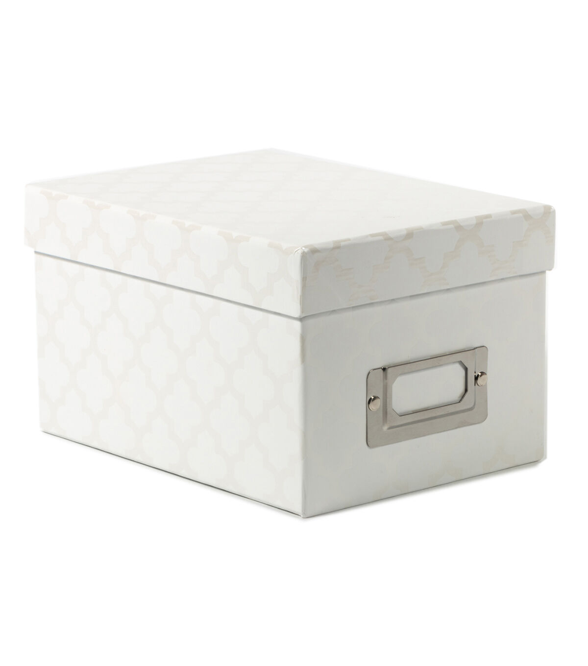 Superieur Mini Photo Storage Box White Quatrefoil