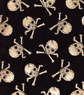 The Witching Hour Halloween Velvet Fabric 58\u0022-Metallic Skulls