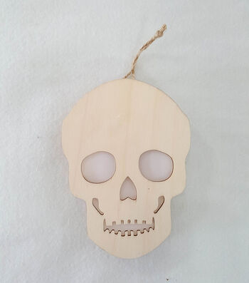 Maker's Halloween Laser Wood Hanging-Light Skull