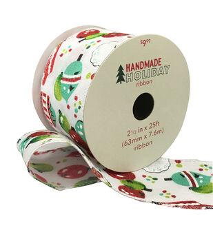 Handmade Holiday Christmas Ribbon 2.5''x25'-Ornaments on White