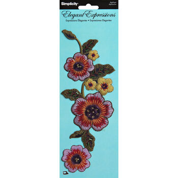 Elegant Expressions Multi Embroidery Iron On Floral Appliques, 2 pcs
