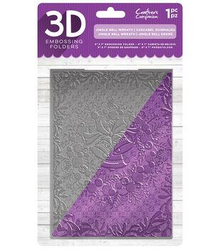 Crafter's Companion 5''x7'' 3D Embossing Folder-Jingle Bell Wreath