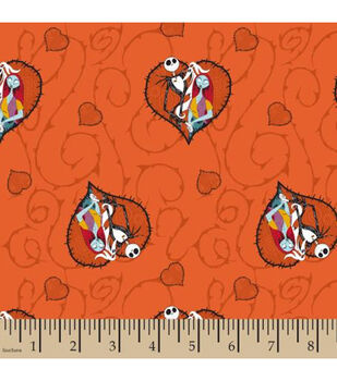 Nightmare Before Christmas Cotton Fabric-Jack And Sally Hearts