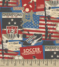 Snuggle Flannel Fabric -Red Soccer