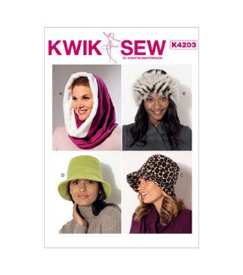 Kwik Sew Pattern K4203 Misses' Hood, Beanie & Bucket Hats