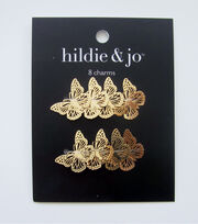 hildie & jo 8 pk Filigree Butterfly Charms-Gold, , hi-res