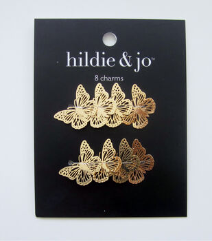 hildie & jo 8 pk Filigree Butterfly Charms-Gold