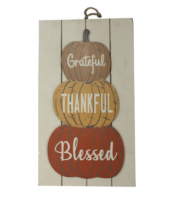 Simply Autumn 3D Pumpkin Stack Wall Decor-Grateful, Thankful & Blessed